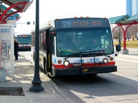 Bus #6515 at Navy Pier, working route #29 State, on February 28, 2004. This bus is equipped with a TwinVision Chroma destination sign.