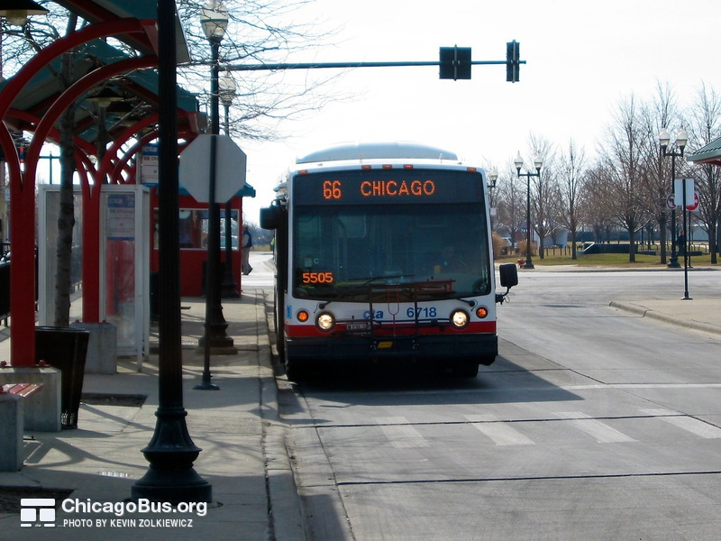 Bus #6718 at Navy Pier, working route #66 Chicago, on February 28, 2004.