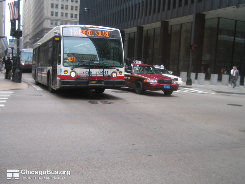 Bus #6441 at Jackson and Dearborn, working route #1 Indiana/Hyde Park, on August  4, 2005. This bus uses a high-resolution Aesys destination sign.