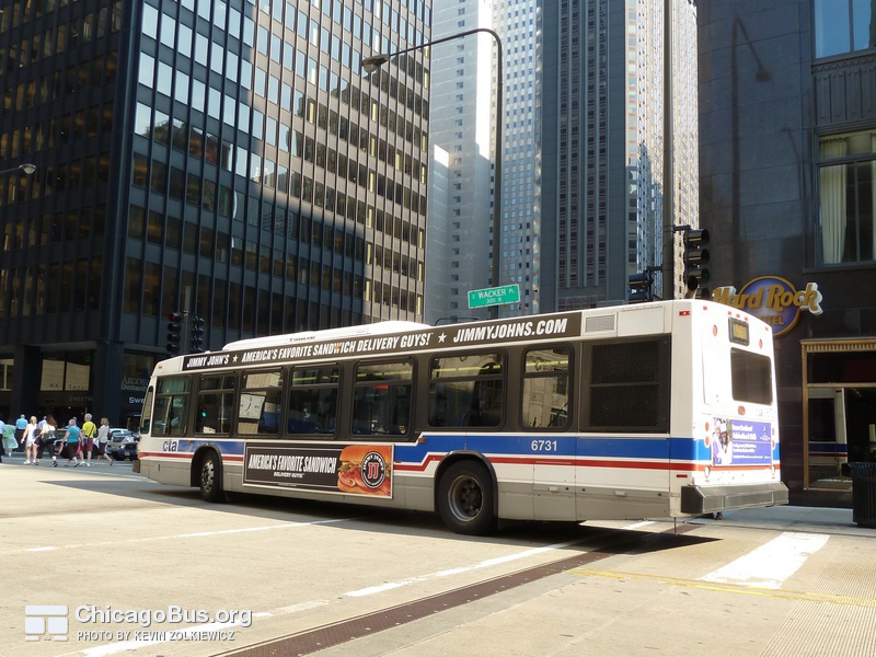 Bus #6731 at South Water and Michigan, working route #56 Milwaukee, on May 25, 2010.
