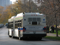 Bus #4000 at Stockon and Fullerton, working route #156 LaSalle, on November  4, 2008. Unlike subsequent deliveries of the 4000-series, #4000 features unnecessary rear vents.