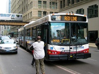Bus #7598 at Washington and Wabash, working route #147 Outer Drive Express, on April 28, 2004.