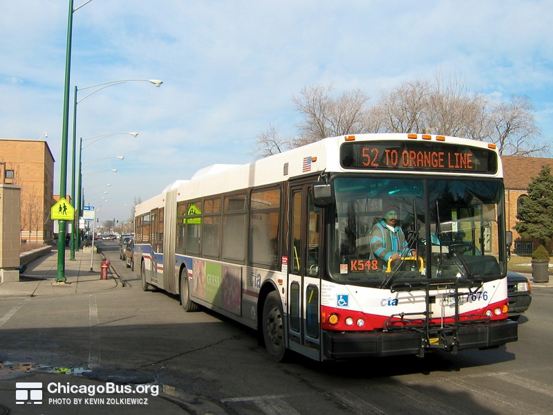 Bus #7676 at Kedzie and 46th, working route #52 Kedzie/California, on February  5, 2005.