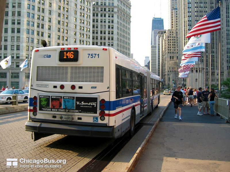 Bus #7571 at Michigan Avenue Bridge, working route #146 Inner Drive/Michigan Express, on June 10, 2005.