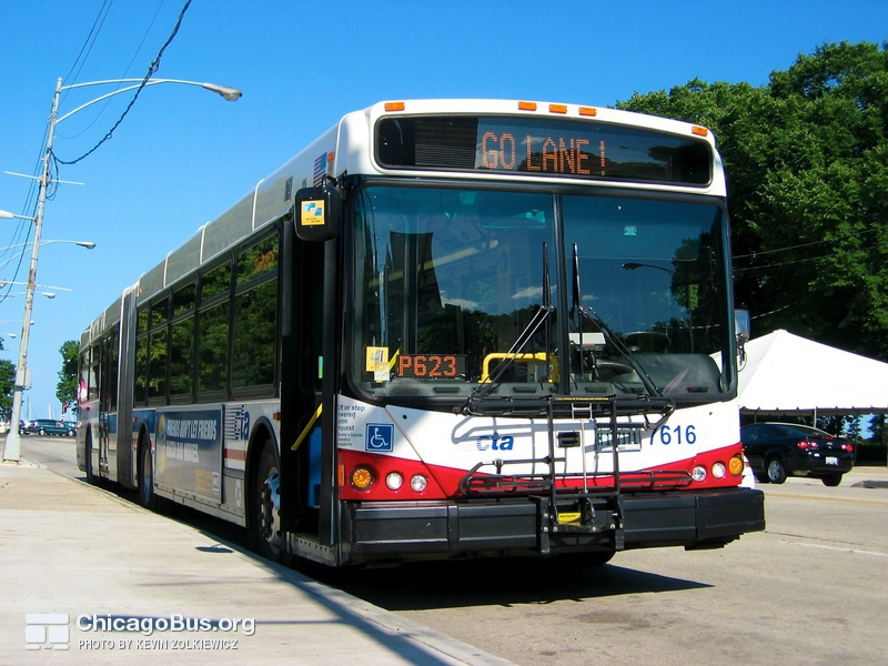 Bus #7616 at Jackson and Columbus on June 16, 2005.