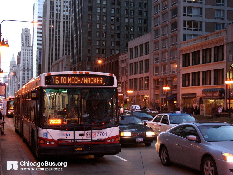 Bus #7701 at Michigan and Wacker, working route #6 Jackson Park Express, on March 10, 2007.