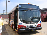 Prototype bus #500 at Skokie Shops on June 17, 2006.