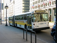 This bus, like many other 7300-series buses, remained in their original King County Metro paint scheme.