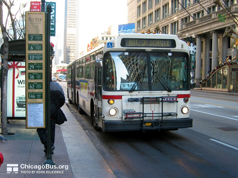 Bus #7405 at State and Washington, working route #146 Inner Drive/Michigan Express, on November 26, 2003.