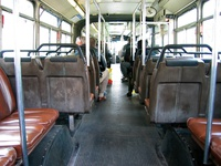 The interior of a 7300-series MAN Articulated on April 13, 2004.