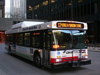Bus #809 at South Water and Michigan, working route #124 Navy Pier, on March 10, 2007.