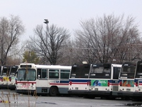 Bus #7411, tagged as scrap, at South Shops on November 26, 2004.