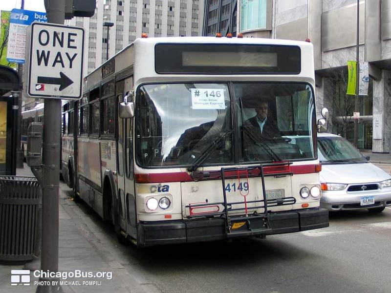 Bus #4149 at Michigan and Pearson, working route #146 Inner Drive/Michigan Express, on March 11, 2004.