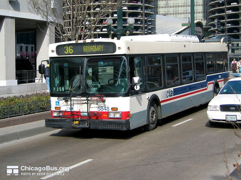 Bus #5848 at State and Wacker, working route #36 Broadway, on February 28, 2004.