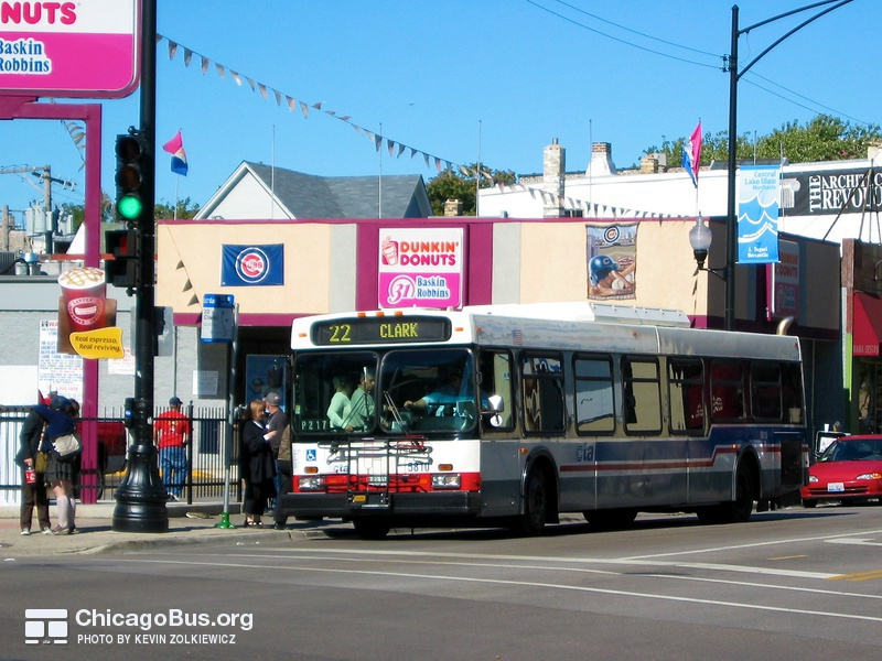Bus #5810 at Clark and Belmont, working route #22 Clark, on October  2, 2004.