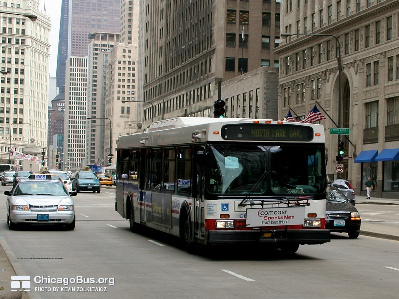 Bus #5843 at Michigan and South Water, working route #36 Broadway, on June  6, 2008.