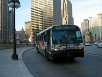 Bus #4592 at Wacker and Michigan, working route #123 Illinois Center/Union Express, on June 10, 2005.