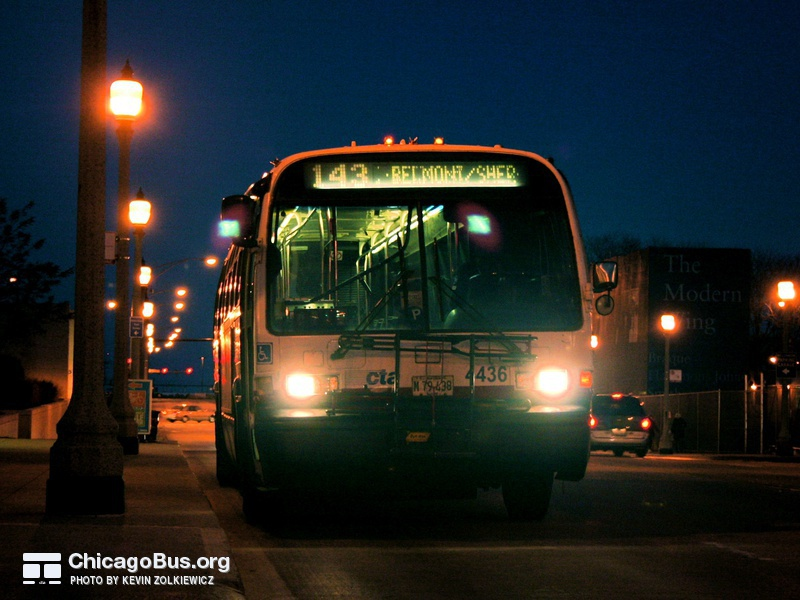 Bus #4436 at Monroe and Michigan, working route #143 Stockton/Michigan Express, on November  9, 2006.