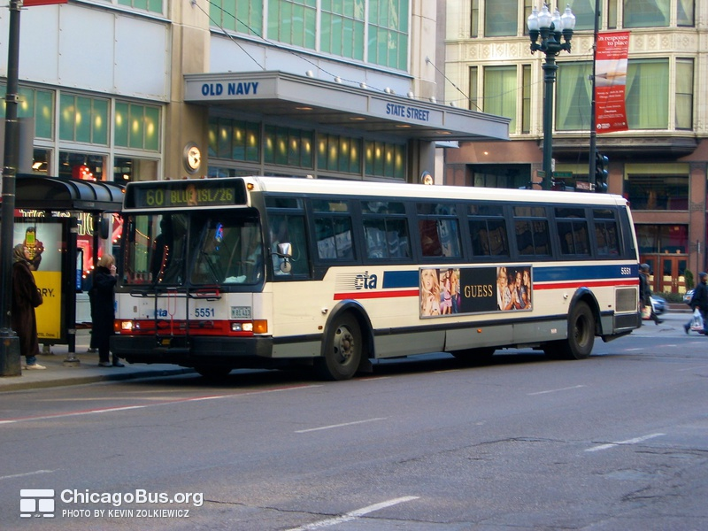 Bus #5551 at State and Washington, working route #60 Blue Island/26th, on February 26, 2004.