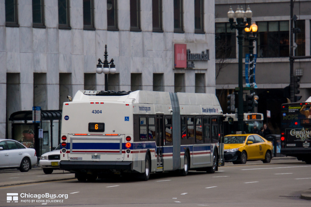 Bus #4304 at Wacker and State, working route #6 Jackson Park Express, on December 19, 2012.