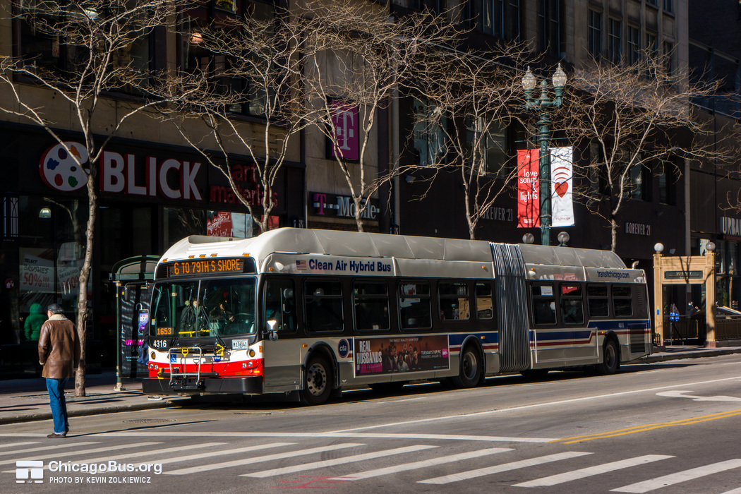 Bus #4316 at State and Monroe, working route #6 Jackson Park Express, on January 16, 2013.