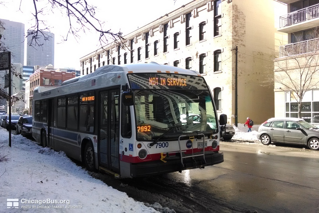 Bus #7900 at CTA Headquarters on February 18, 2014.