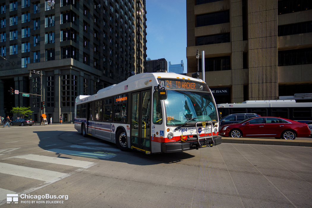 Bus #7904 at Dearborn and Wacker, working route #24 Wentworth, on July 18, 2014.