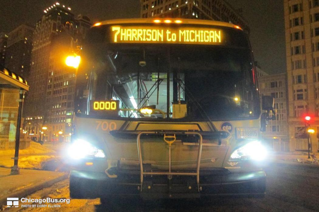 Bus #700 at Congress and Michigan, working route #7 Harrison, on February 11, 2015.