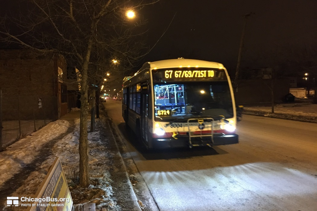 Bus #8004 at 69th and Indiana, working route #67 67th/69th/71st, on February 20, 2015.
