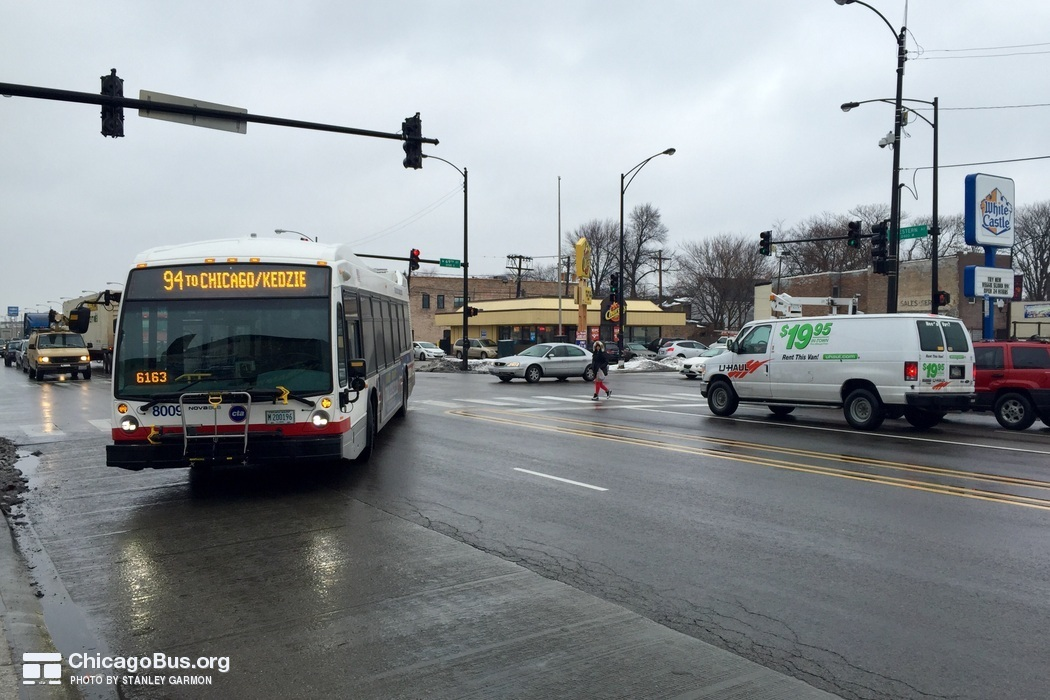 Bus #8009 at 69th and Western, working route #94 South California, on March  3, 2015.