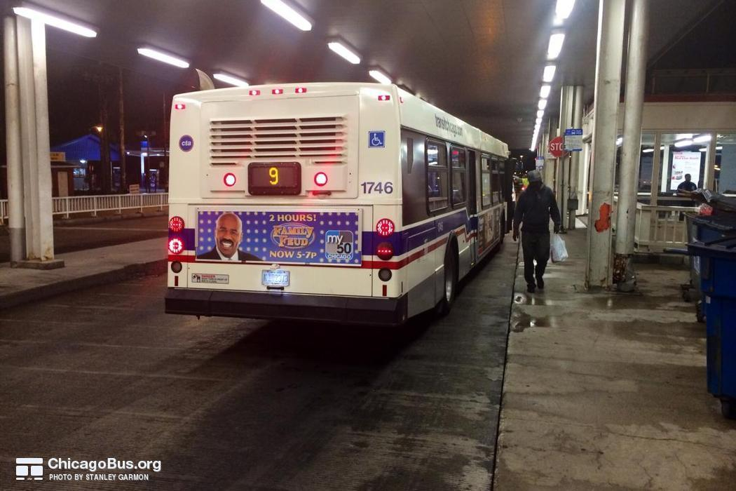 Bus #1746 at 95th/Dan Ryan Red Line Station, working route #9 Ashland, on September 22, 2014.