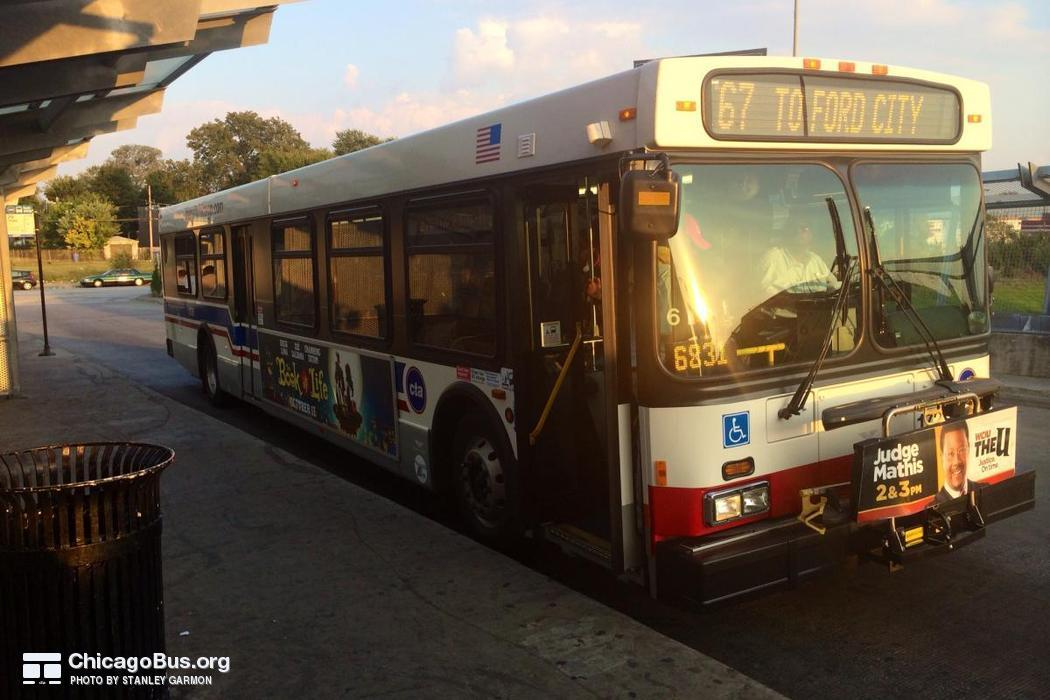 Bus #1729 at 69th Red Line Station, working route #67 67th/69th/71st, on September 30, 2014.