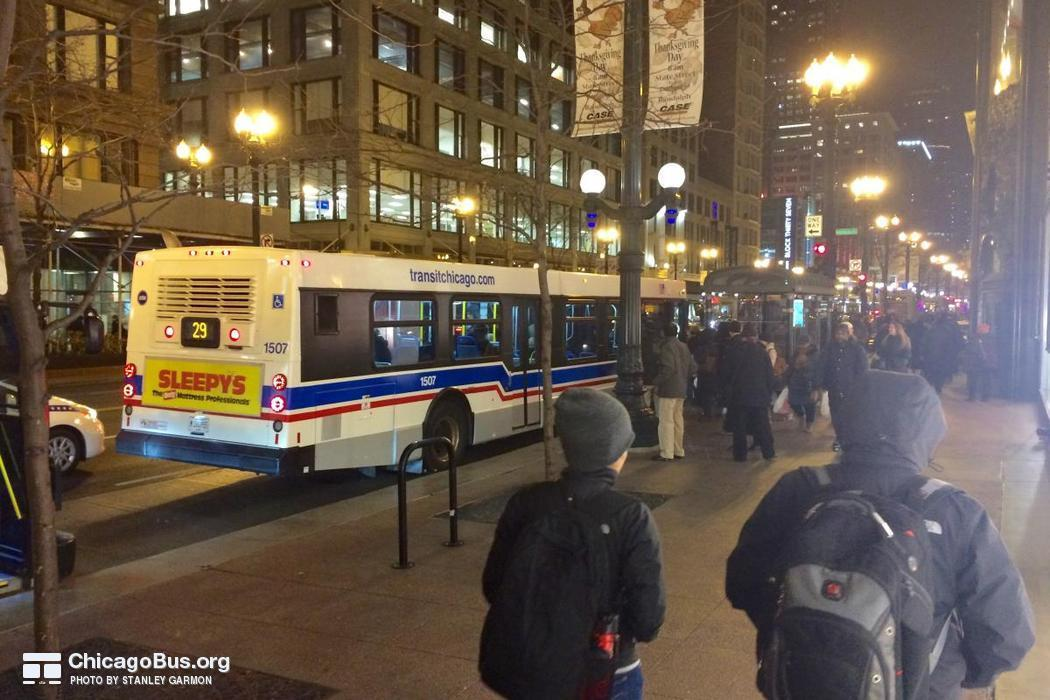 Bus #1507 at State and Madison, working route #29 State, on November 14, 2014.