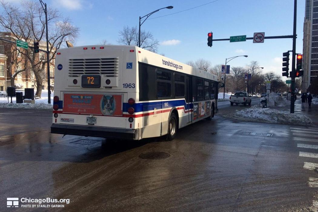 Bus #1963 at North and Clark, working route #72 North, on February  3, 2015.