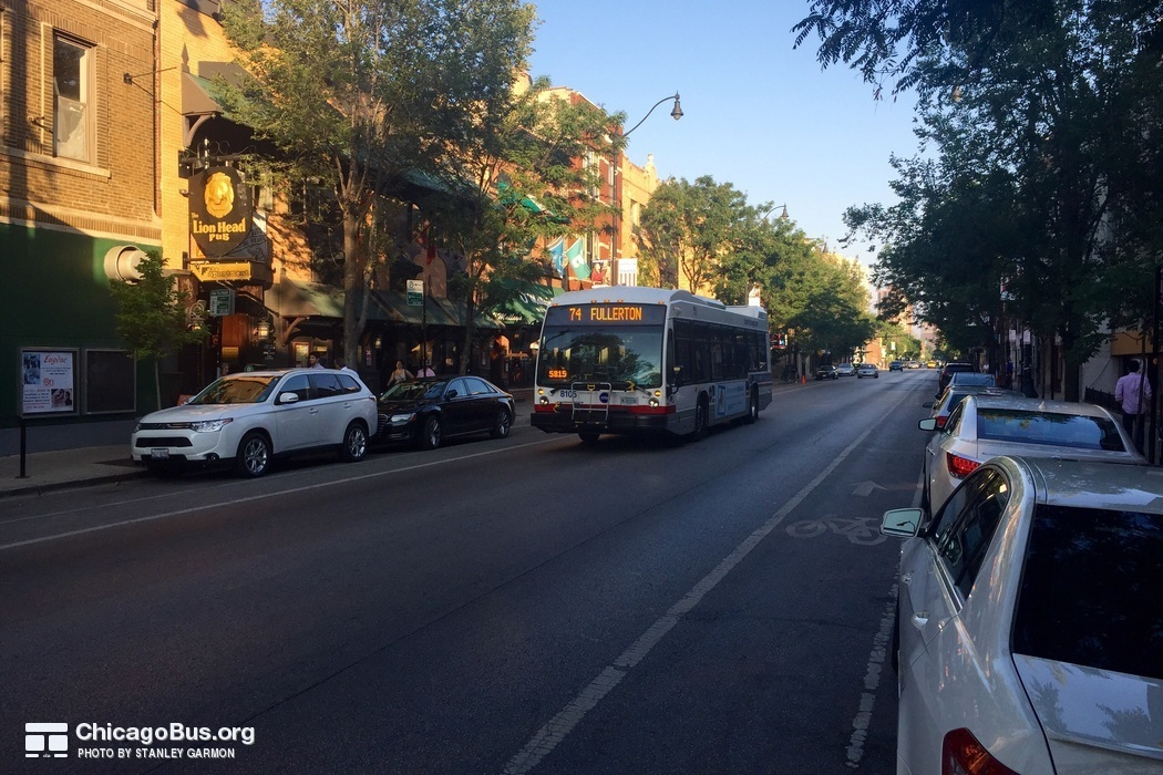 Bus #8105 at Lincoln, Orchard and Belden, working route #74 Fullerton, on July 25, 2015.