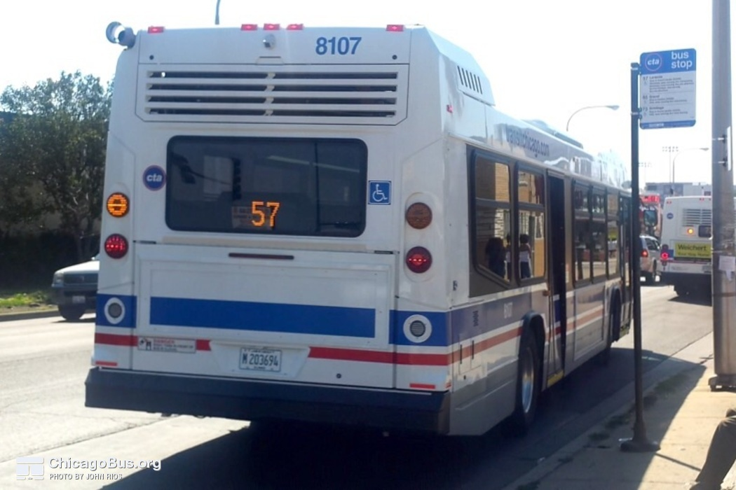 Bus #8107 at Grand and Laramie near terminal, working route #57 Laramie, on July 30, 2015.