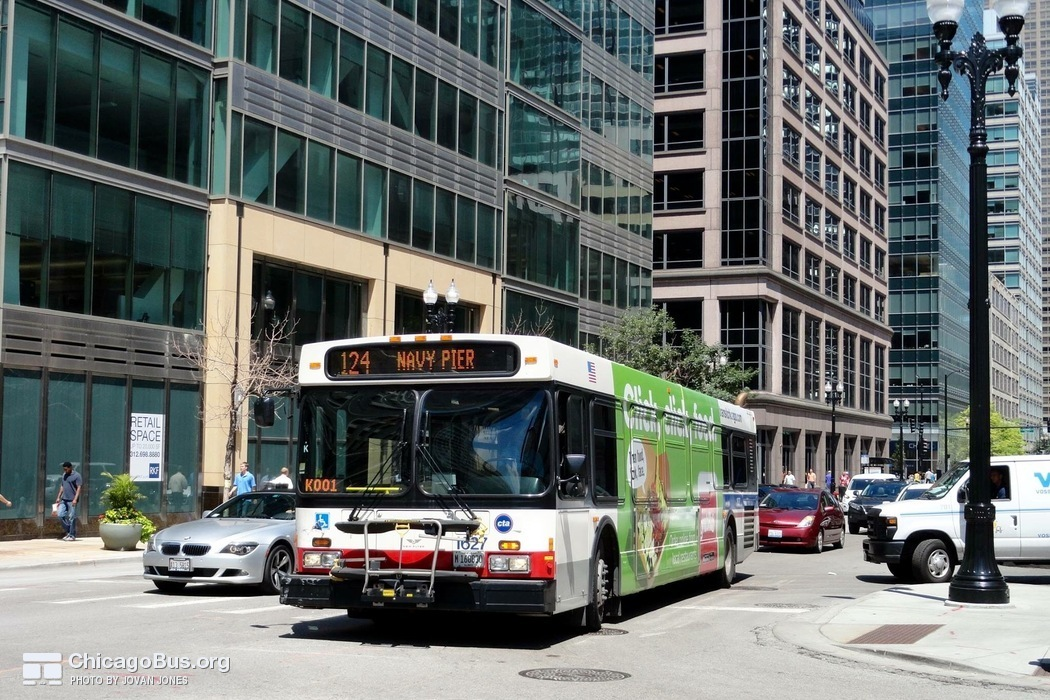 Bus #1627 at Clinton and Jackson, working route #124 Navy Pier, on July 17, 2015.