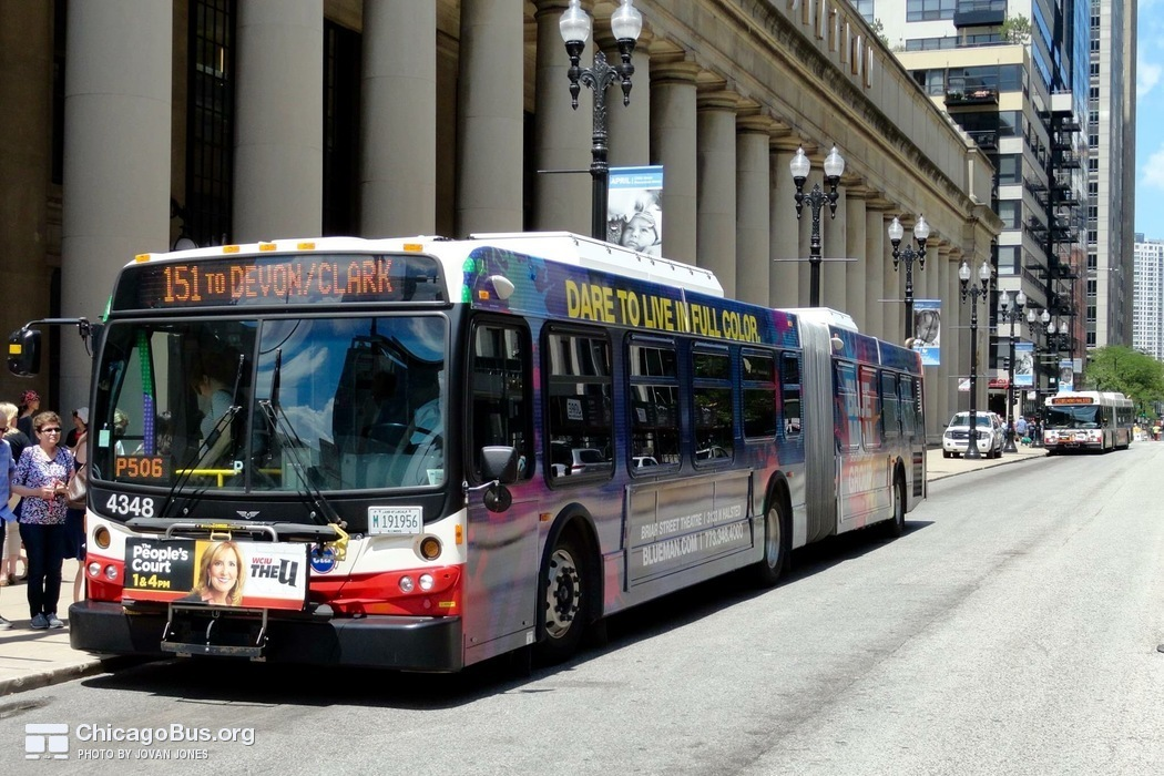 Bus #4348 at Union Station, working route #151 Sheridan, on July 17, 2015.