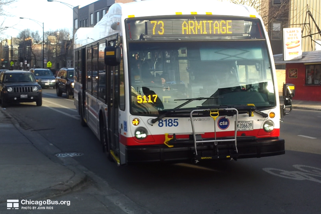 Bus #8185 at Armitage and Wilmot, working route #73 Armitage, on February 23, 2016.