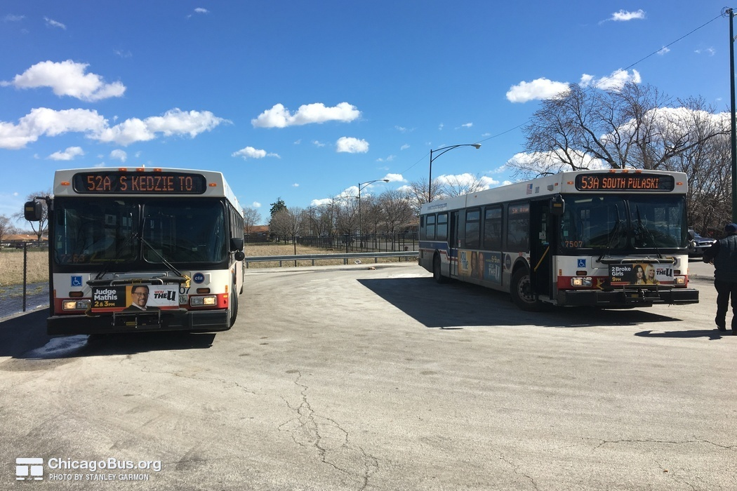 Buses #1207 and #1461 at 115th and Springfield (Terminal), working routes #52A South Kedzie and #53A South Pulaski, on March 16, 2016.