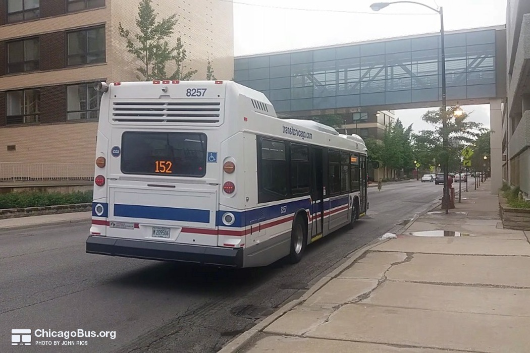 Bus #8257 at Addison and Central, working route #152 Addison, on July 14, 2016.