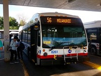 Bus #8261 at Jefferson Park Blue Line Station , working route #56 Milwaukee, on July 17, 2016.