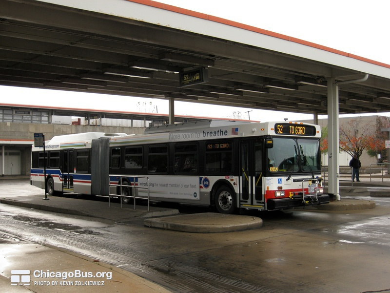 Bus #4008 at Kedzie Orange Line, working route #52 Kedzie/California, on November 14, 2008.