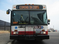 Prototype bus #1000 at Navy Pier during a CTA press conference on November 2, 2005.