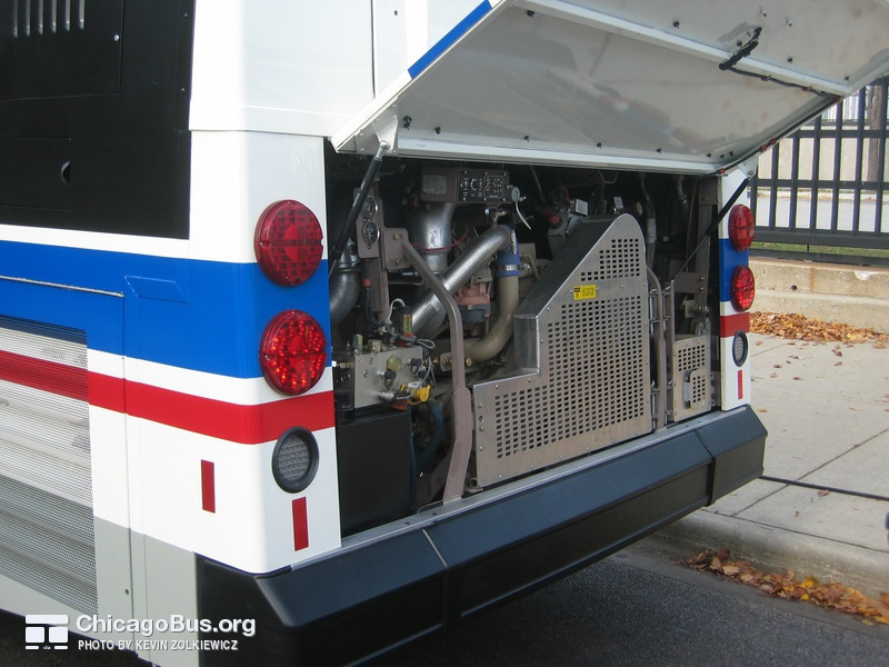 Prototype bus #1000 at Navy Pier during a CTA press conference on November 2, 2005. The 1000-series buses are equipped with a low emission Cummins engine. Each bus produces 60% fewer emissions than the 1991 Flxible Metro buses they replaced.