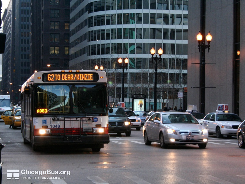 Bus #1048 at Dearborn and Madison, working route #62 Archer, on March 22, 2007.
