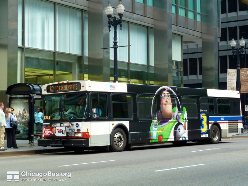 Bus #1183 at Dearborn and Monroe, working route #62 Archer, on May 26, 2010.