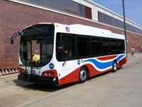 Prototype bus #500 at Skokie Shops on June 17, 2006. The 500-series buses features a modified paint scheme to help differentiate them from standard CTA buses.