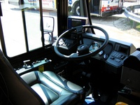 The drivers area of prototype bus #500 while at Skokie Shops on June 17, 2006.
