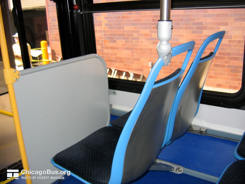 "A close-up of the American Seating ""Insight"" seats on prototype bus #500 while at Skokie Shops on June 17, 2006."